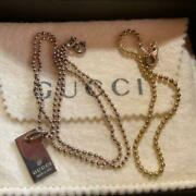 Necklace Logo Plate Charm W/ Two Type Of Chains 17.7 In., 7.9 In.