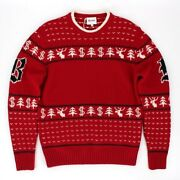 Brioni Wool Red/white Christmas Crew Neck Sweater Size 48 Us 38 New W Tags Italy