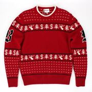 Brioni Wool Red/white Christmas Crew Neck Sweater Size 50 Us 40 New W Tags Italy