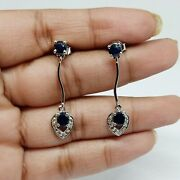 Vintage 925 Sterling Silver Diamond And Blue Sapphire Earrings Christmas Gifts
