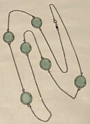 Signed Dyadema Italy Sterling Silver Faceted Aqua Glass Station Necklace 36andrdquo18g