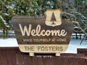 Custom Welcome Sign. Campsite Cabin National Forest. Carved Wood Sign.