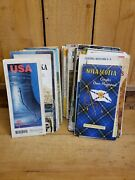 Lot Of 50 Vintage Road Maps From The United State And Canada 1960s Through 1990s