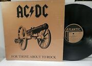Ac/dc For Those About To Rock Rl Ludwig Pressing Masterdisk Og 1981 1p Lp