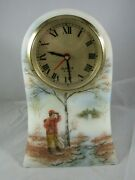 Vintage Fenton Hand Painted Clock By A Sallee 321 Of 2000- Hunter Scene