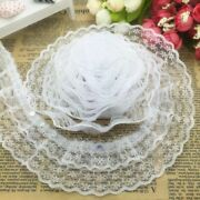 5yards 45mm Lace Trim Diy 3layer Pleated Ribbon Sewing Craft Fabric Decoration