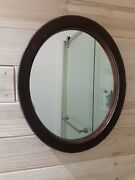 Antique Oval Wooden Frame Mirror 13 3/4 X 11.5 Bathroom Hall Vanity Make Up Used