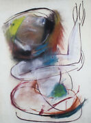 Anne Marie Hall Dream Figure With Arms Raised - Charcoal And Pastel Modernist