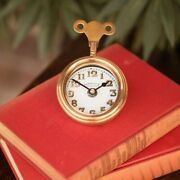Replica Scale Model Locomotive Firewall Mouse Table Clock Solid Brass And Glass