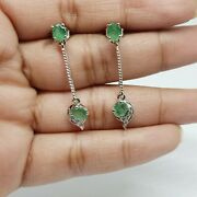 Unique 925 Sterling Silver Emerald And Diamond Earrings Vintage Christmas Gifts