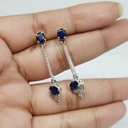 Unique 925 Sterling Silver Sapphire And Diamond Earrings Vintage Christmas Gifts