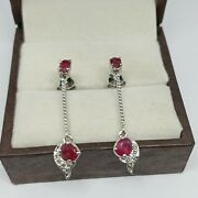 Beautiful 925 Sterling Silver Ruby And Diamond Earrings Vintage Christmas Gifts