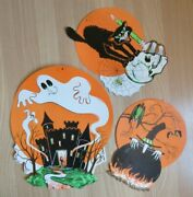 Vintage Halloween Die Cuts X3 Pumpkins Cats Skull Witch Ghost 1960and039s Beistle
