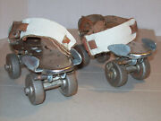 Nos Pair Of Old Style Flyte Roller Skates Steel Wheels Clamp On In Box