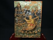 Antique Chinese Hand Carved Wood Plaque Asian Panel Relief Figure Pagoda Vintage