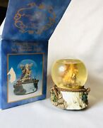 Vintage 1993 Guardian Angel Music Box Snow Globe Holiday 7 Inches Tall Ceramic
