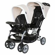 Baby Trend Sit N Stand Travel Baby Double Stroller, Modern Khaki Open Box