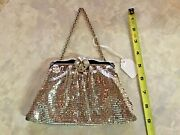 Vtg Whiting And Davis Silver Mesh Evening Clutch W Rhinestone Clasp And Change Purse