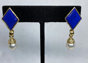 Vintage 18 Kt Gold Lapis And Pearl Earrings