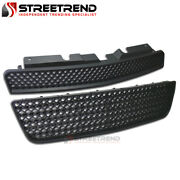 For 06-16 Chevy Impala Black Mesh Front Hood Upper+lower Bumper Grill Grille 2pc