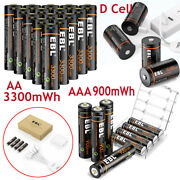 Lot Aa / Aaa / 9v / D Cell Usb Battery Lithium Li-ion Rechargeable Batteries