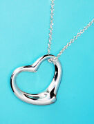 And Co Sterling Silver Solid Necklace Chain Peretti Open Heart Pendant