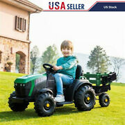 Kid Ride On Tractor 12v Rechargeable Battery Agricultural Vehicle Toy Trailer Us