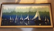 """Jaques H Guyot, French, Mid 20th Century, Oil/board 47"""" By 21"""" Nautical Themed"""