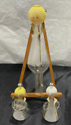 Lot Of 3 Vintage De Carlini Blown Glass Angel Ornaments Hand Painted Made Italy