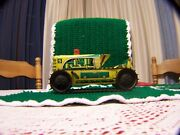 1950s 5 Yellow / Green Marx Tin Wind Up Climbing Sparking Tractor 124