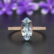 Blue Aquamarine Marquise Stone Ring 14k Solid Gold Engagement Gift Ring Gr181
