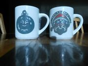 Lot Of 2 Denny's Ornament, Bah Humbug Scrooge Coffee Cups 8 Oz.