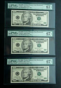 10 2003 X3 Pmg 67 Near Solid 4's Consecutive Serial 44444441,2,3 Richmond Fancy