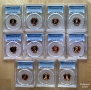 1998 1999 2000 - 2008 S Pcgs70 Rd Dcam 11 Proof Lincoln Memorial Cent Set