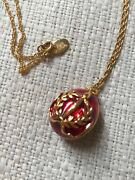 Joan Rivers Jeweled Red Enamel Accent Egg Pendant Necklace Locket Russian Style