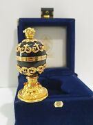 Rare House Of Faberge Imperial Collection Black Onyx And Gold Egg W/ Clock In Case