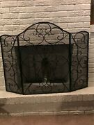 Fireplace Screen Iron Heavy Duty Durable Free Standing 3-panel Foldable Guard