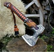 New Custom Handmade Damascus Steel Bearded Camping Axe With Wooden Handle