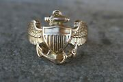 Vintage 10kt Yellow Gold Wwii Navy Wings Sweetheart Ring - Size 6.5 / 6.2 Grams