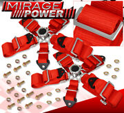 Universal 3 Strap 5 Point Cam Lock Racing Seat Belt Harness Road Race Pair Red