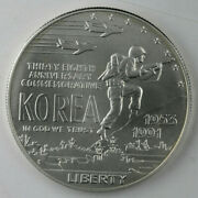1991 Korean War Memorial Uncirculated Silver Dollar With Original Box And Coa