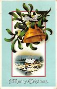 Embossed Blue Framed Bell - A Merry Christmas - Antique 1908 Postcard