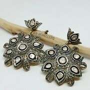 Vintage 925 Sterling Silver Natural Polki And Diamonds Earrings Christmas Gifts