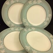 Royal Worcester Moonflower Lot Of 4 Dinner Plates 10 1/2andrdquo Inch Vintage England