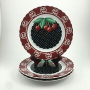 3 Mary Engelbreit Cherry Cameo Salad Plates At Home With Mary Set Of 3