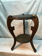 Vtg Victorian Scroll Cut Wood Plant Stand Mahogany 20.5in Tall Fish Bowl Stand