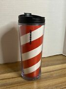 2009 Starbucks Red And White Candy Cane Striped Christmas Tumbler 12 Oz Nwot