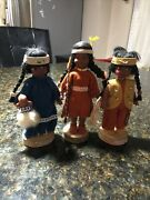 3 Vintage Native American Indian Eskimo Girl Dolls Leather Outfits Wood Stands