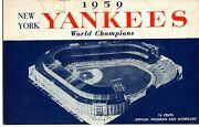 1959 June 12 New York Yankees Scorecard Vs Detroit Tigers With Two Ticket Stubs