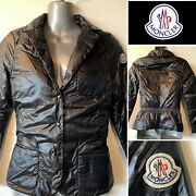 Moncler France New And039miamiand039 Black Down-lining Quilted Lapel Jacket Sz 1/x-small